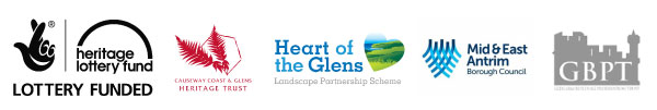 Icons of this years walking festival sponsors: Lottery Heritage Fund, Causeway Coast & Glens Heritage Trust, Heart of the Glens LPS, Mid & East Antrim Borough Council and Glenarm Buildings & Preservation Trust